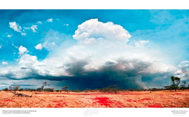 Pyrocumulonimbus causada por incêndio florestal vista em Gascoyne, Austrália. Foto de Jordan Cantelo.