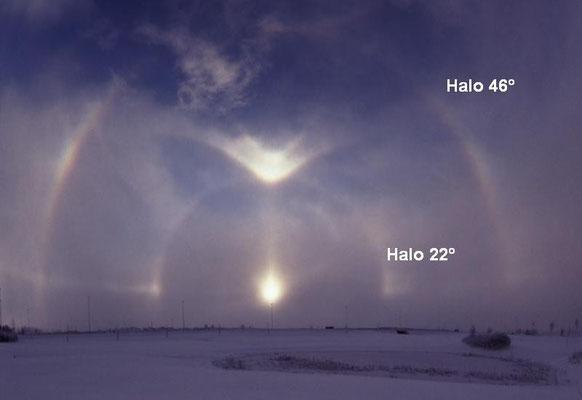 Halos 22º e 46° vistos na Suécia em 2003. Foto de Nasko.
