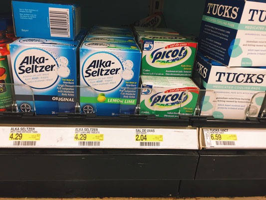 Sal de Uvas, an antacid is placed next to an American favorite, Alka-Seltzer.