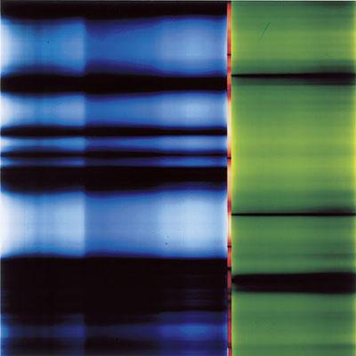 KARL-MARTIN HOLZHÄUSER. Lichtmalerei. 88.28.2001. Unikatbelichtung auf PE-Colorpapier. 120 x 120 cm