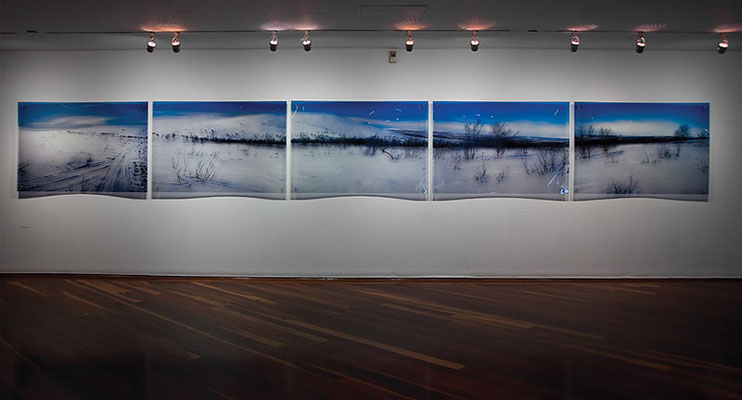 Lapland, 2011. Ink prints on 2 mm flexible metacrylate. 5 pieces poliptych. 100 x 790 cm