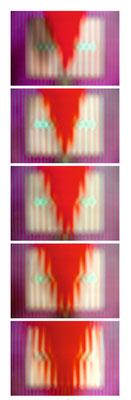 5 Positionen: roter Keil, Einfärbung und Ablenkung der Streifen, Schärfe unendlich