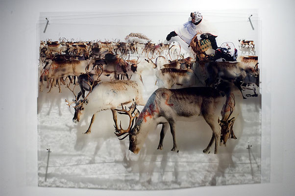Word herder, 2011. Ink prints on 2 mm flexible metacrylate. Superimposed three layered image. 100 x 150 x 10 cm