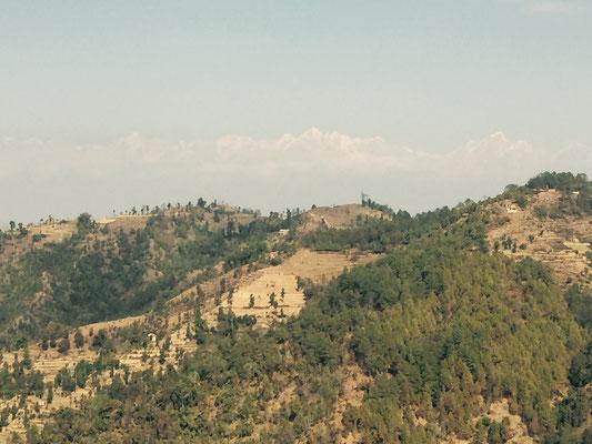 Es ist ein relativ klarer Tag und in der Ferne sieht man sogar die Bergspitzen des Himalayas.