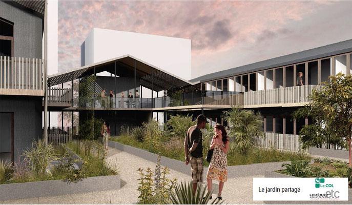 Esquisse projet habitat participatif quartier Brazza, Bordeaux, vue jardin commun