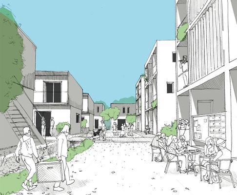 Habitat participatif - Jardins du Laü - Croquis d'esquisse