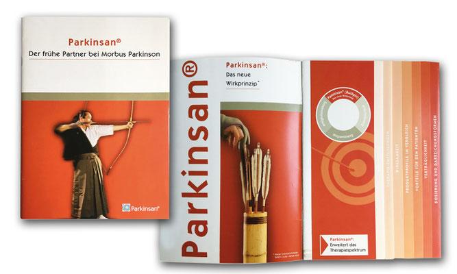 16-seitige Fachinformationsbroschüre für das Parkinson-Präparat Parkinsan von Lundbeck Pharma