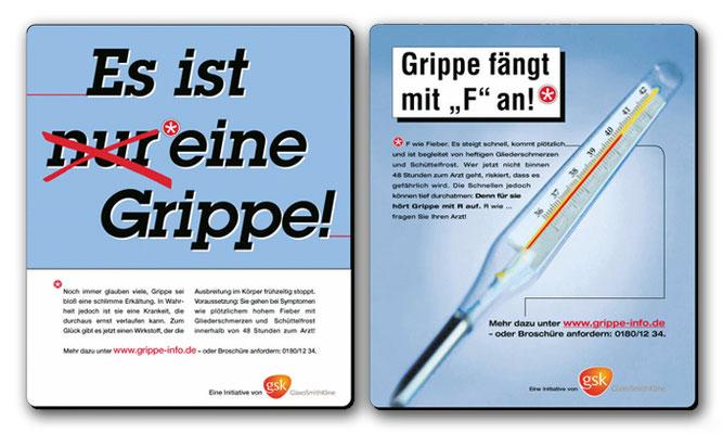 Anzeigen zur Grippe-Aufklärung für GlaxoSmithKline