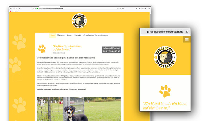 Website für die Hundeschule Norderstedt, Astrid Mau, gestaltet mit jimdo