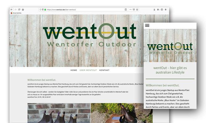 Website für das Start-Up WentOut, gestaltet mit jimdo