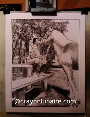 Cavalier-cheval-fusain
