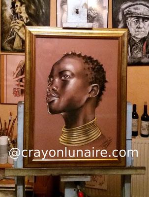 Africaine-portrait-pastel-sec
