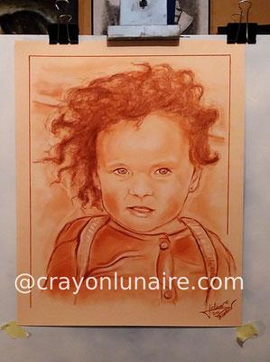 Portrait jeanne à la snguine XVIIIe