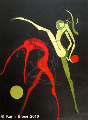Tanz mit Bällen, Karton, 50 x 70 cm
