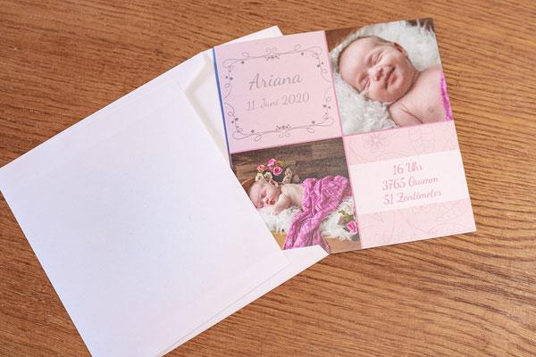 Geburtskarte, Dankeskarten, Karten, Klappkarten, Babykarten, Layout