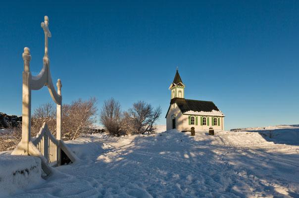 Kleine alte Kirche Pingvallkirkja  in Thingvellir