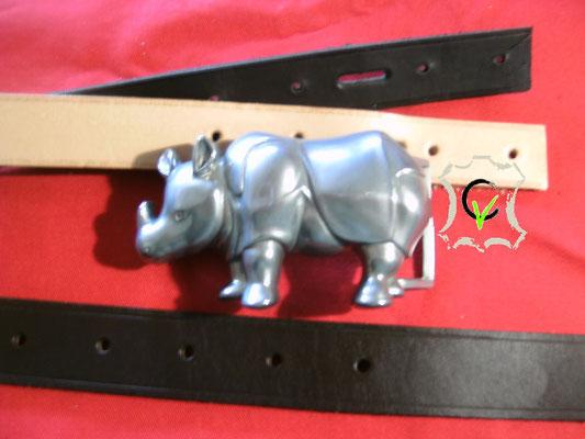 B7, boucle à piquot de 40mm métal poli rhinocéros