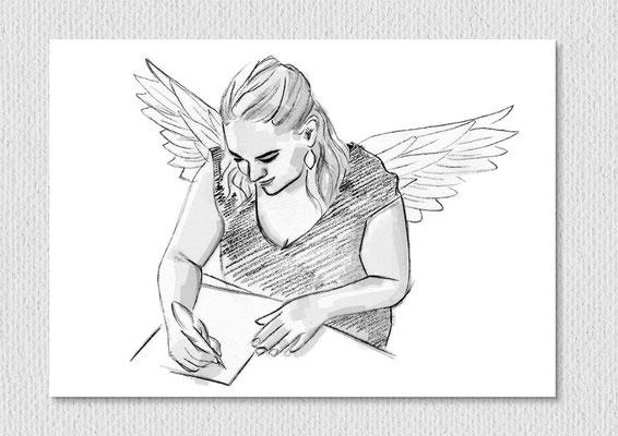 Engelbriefe, Blei- und Filzstift auf Papier, 26 x 21 cm