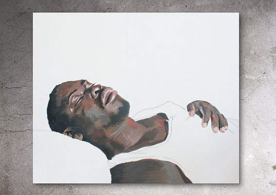 La terre fugitive, Acryl und Kohle auf Canvas, 41 x 33 cm