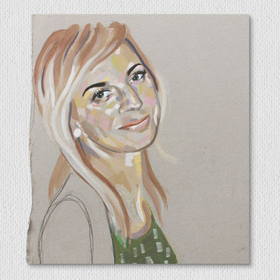 ohne Titel, Acryl und Farbstift auf Karton, 21 x 21 cm