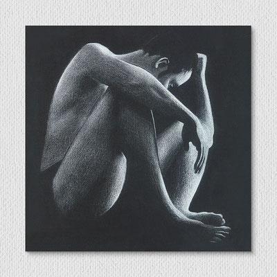 ohne Titel, Farbstift auf Papier, 20 x 20 cm