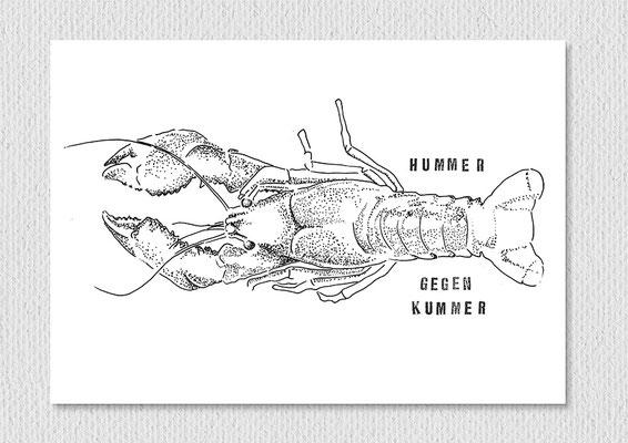 Hummer gegen Kummer, Fineliner und Stempel auf Papier, 26 x 21 cm