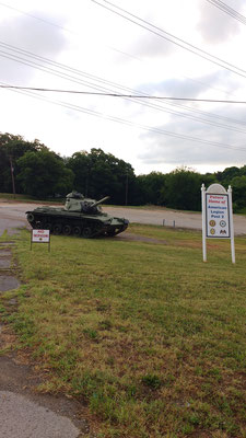 sinister local landmark makes way for the American Legion and a tank!