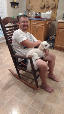 Peter's new friend Leo and the rocking chair my great grandfather made
