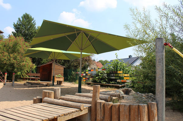 Sonnensegel in grün mit hohem UV-Schutz ✅ für Kindergärten
