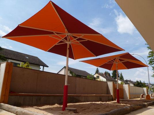 Sonnenschutz sicher Verankern, may Sonnenschirm SCHATTELLO im Kindergarten