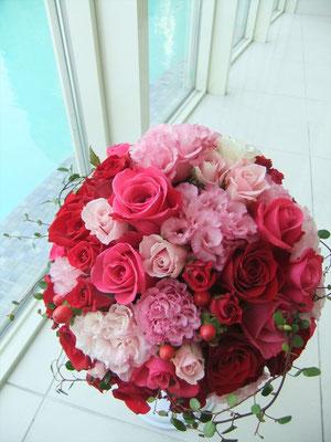 ラウンドブーケ 赤×ピンク