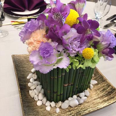 ウェディング 装花 花 花ひろ 福井 鯖江 結婚式 ブライダル オリジナルウェディング 和風 竹 トクサ