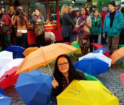 A. Heiniger mit einem Schirm der Wünsche