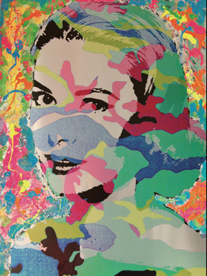 "Tribute to Grace Kelly ""Grace went pop"" - 90x120cm - Acrylic and resine on Aluminium"