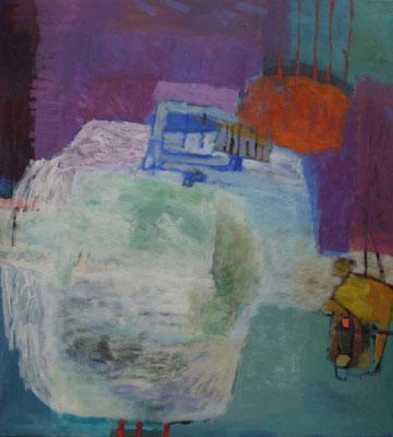 """Gefüge 43"", 2019, Acryl auf Leinwand, 100 x 90 cm"