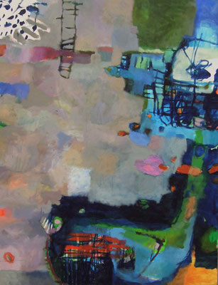 """Gefüge 10/Echolot"", 2017, Acryl auf Leinwand, 130 x 100 cm"