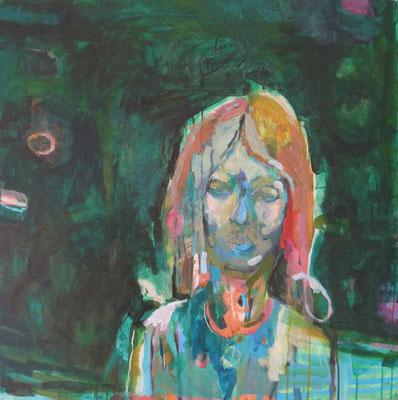 """""""Ein roter Gedanke"""", Acryl/Mischtechnik auf Leinwand, 80 x 80 cm"""