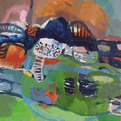 """Am Berg"", 2016, Acryl auf Leinwand, 30 x 30 cm"