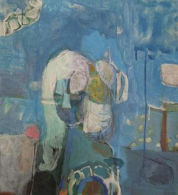 """Am Himmel"", Acryl/Mischtechnik auf Leinwand, 55 x 50 cm"