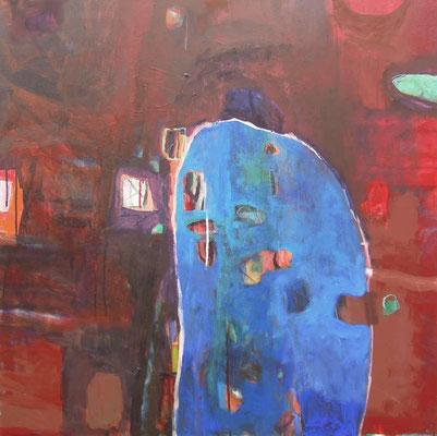 """""""Blaues Haus/Organismus III"""", Acryl/Mischtechnik auf Leinwand, 80 x 80 cm"""