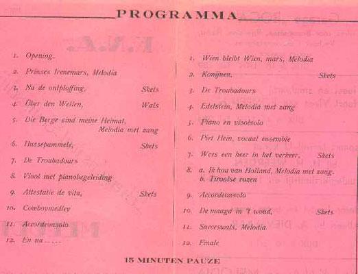 Het programma van de voorstelling van 1951.