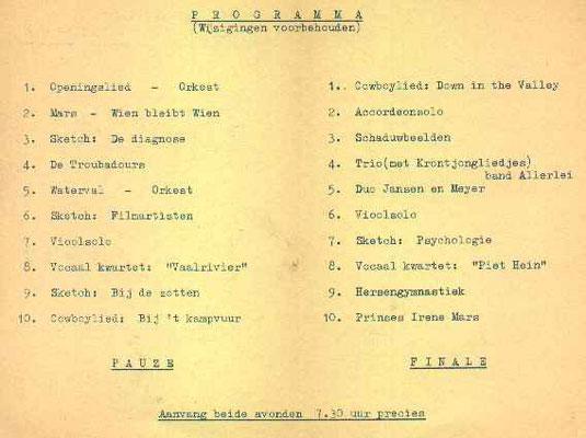 Het middengedeelte van het programma boekje uit 1951.