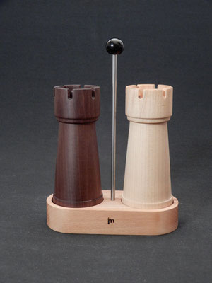 Stahlwerke,  Schwarznuss/Ahorn/Buche,  für Pfeffer/Salz,  ca. 7 x 15 x 21,5 cm,  CHF 135.-