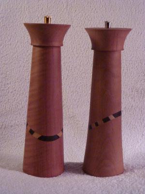 Stahl-/Kunststoffwerk, Birnbaum mit Wenge/Ahorn,      Salz zu Pfeffer (Nr. 3),     ca. 25 cm,   CHF 230.-