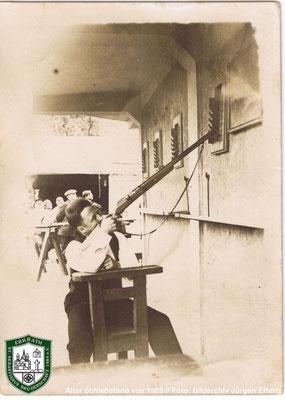 Schießstand von 1929. Schütze und Zeitpunkt des Bildes unbekannt. Quelle: Bildarchiv Jürgen Effertz