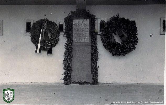 Gedenktafel für die Gefallenen an dem Schießstand 1934. Quelle: Protokollbuch der SSB