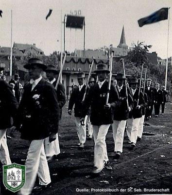 Abmarsch vom Festplatz 1934. Quelle: Protokollbuch der SSB