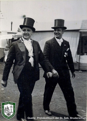 Auf dem Festplatz 1934. König Jacob Kirschbaum. Quelle: Protokollbuch der SSB