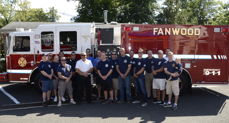 Fanwood Fire Dept  Members in front of Engine 7