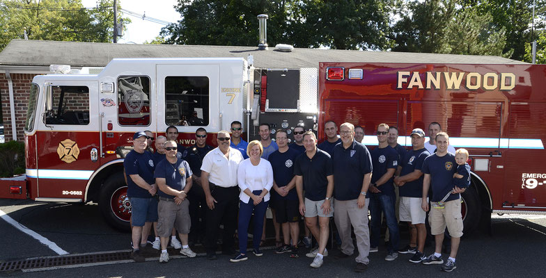 Fanwood FD Members with Mayor Mahr and Town Council Members Huegel and Kranz